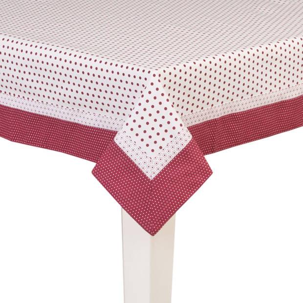 Clayre & eef tafelkleed 100x100 cm - rood, brons - katoen, 100% katoen