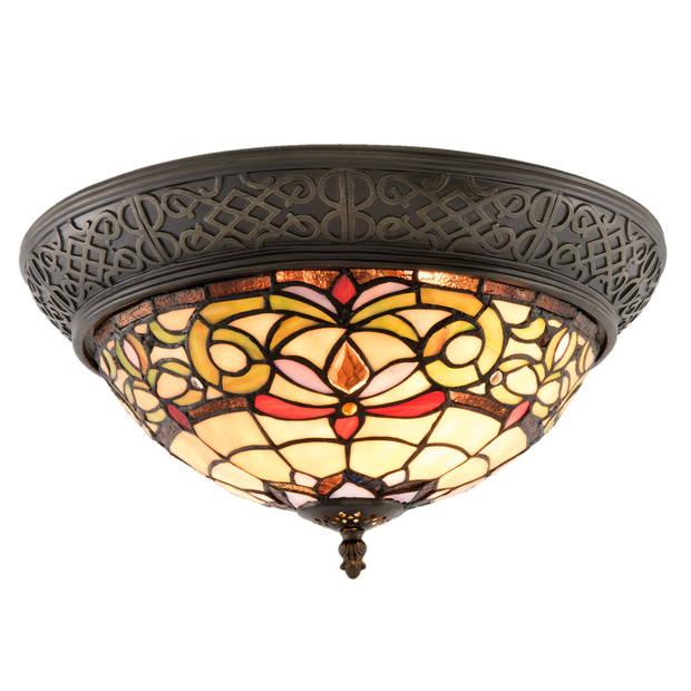 Clayre & eef plafondlamp tiffany ø 38x20 cm / e14 / max.2x40 watt - bruin, rood, geel - ijzer, glas