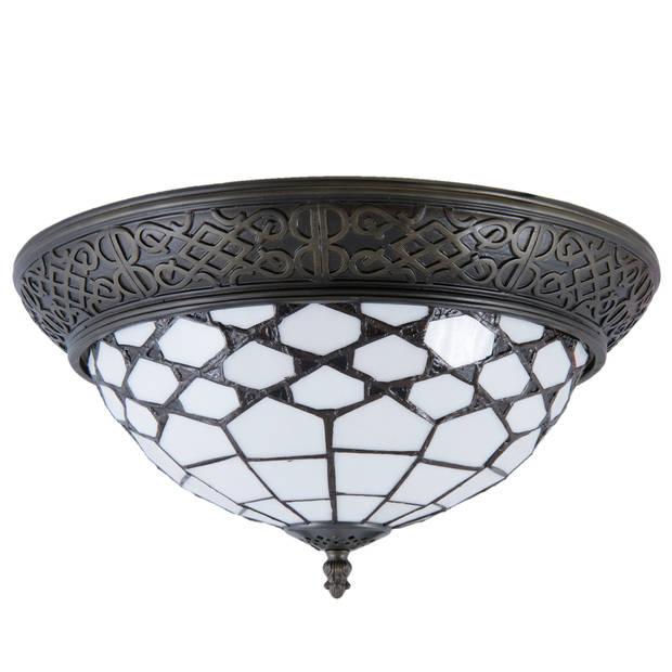 Clayre & eef plafondlamp tiffany ø 38x19 cm / e14/max. 2x40 watt - bruin, wit, brons - ijzer, glas