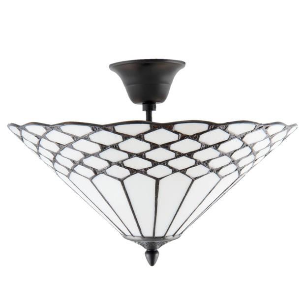 Clayre & eef plafondlamp tiffany ø 42x29 cm / e14/max. 2x40 watt - wit, brons - ijzer, glas