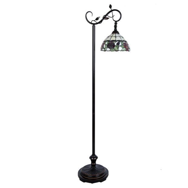 Clayre & eef vloerlamp tiffany compl. 40x27x152 cm e27/60w - bruin, wit, zwart, multi colour - ijzer, glas