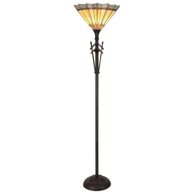 Clayre & eef vloerlamp tiffany compl. Ø 45x182 cm 1x e27 max 60w - bruin, geel, multi colour - ijzer, glas