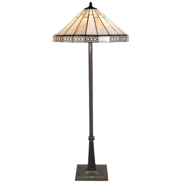 Clayre & eef vloerlamp met tiffanykap parasol compleet 164 x ø 50 cm - bruin, ivory - ijzer, glas