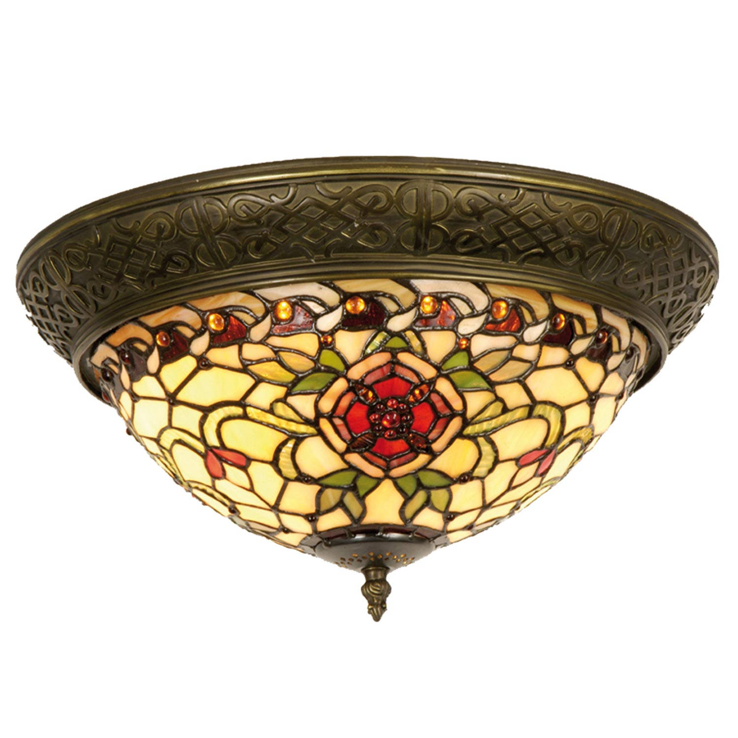 Clayre & eef tiffany plafondlamp compleet red flower serie - bruin, rood, brons, wit - ijzer, glas