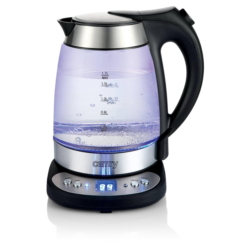 Camry CR 1242 Waterkoker glas RVS met licht en geluid, temp control