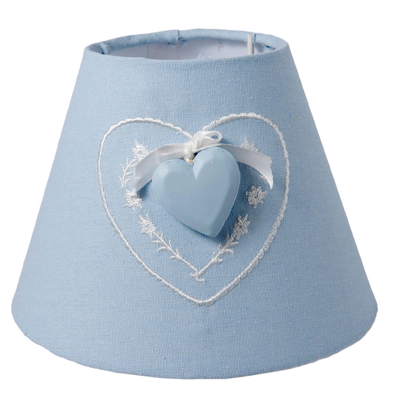 Clayre & eef lampenkap ø 17x13 cm - blauw - katoen, linnen, synthetisch