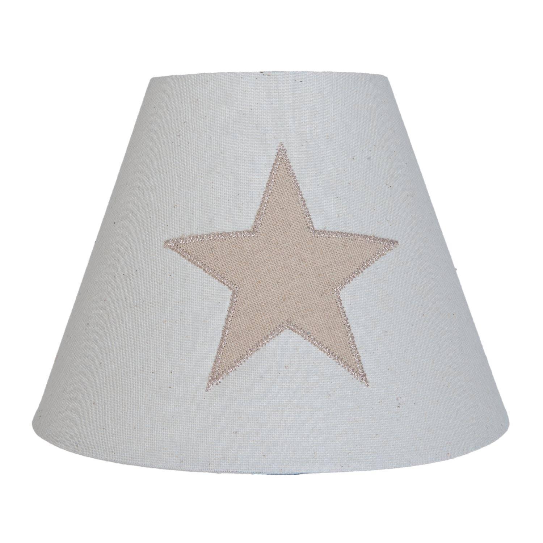 Clayre & eef lampenkap ø 20x15 cm - grijs, beige - katoen