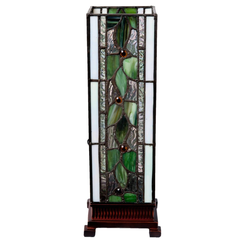 Clayre & eef tafellamp tiffany 13x13x35 cm e14/25w - bruin, wit, groen, multi colour - ijzer, glas