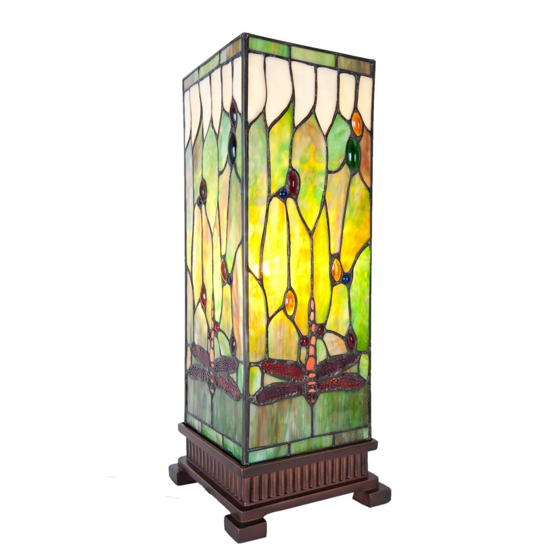 Clayre & eef tafellamp tiffany 17x17x44 cm e27/40w - bruin, groen, roze, multi colour - ijzer, glas