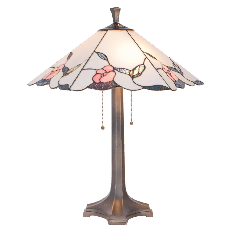Clayre & eef tafellamp tiffanyø 53x65 cm / 2x e27/60w - roze, ivory, multi colour - ijzer, glas