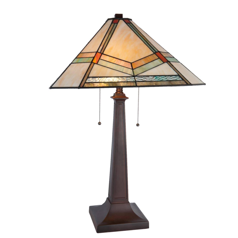 Clayre & eef tafellamp tiffany compleet 50x50x75 cm 2x e27/60w - bruin, ivory, multi colour - ijzer, glas