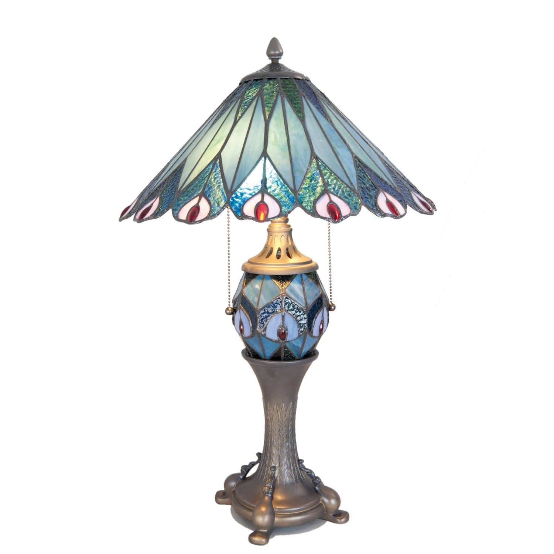 Clayre & eef tafellamp tiffany ø 40x65 cm /e27/2x60w/ e14/1x7w - blauw - ijzer, glas
