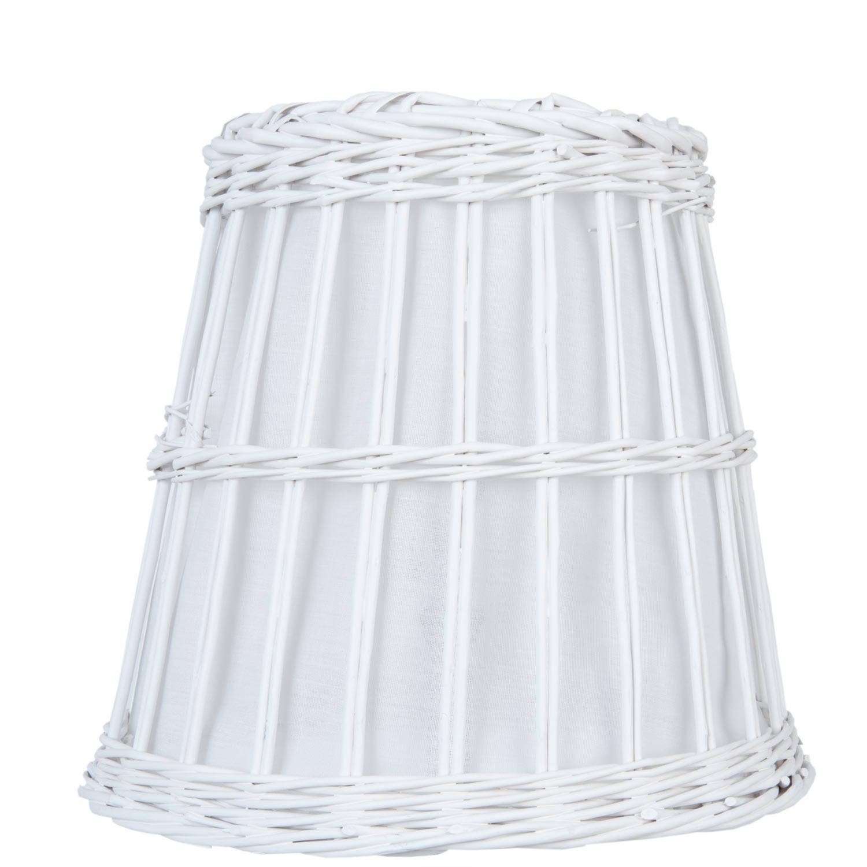 Clayre & eef lampenkap ø 37 cm e27 - wit - katoen, rotan