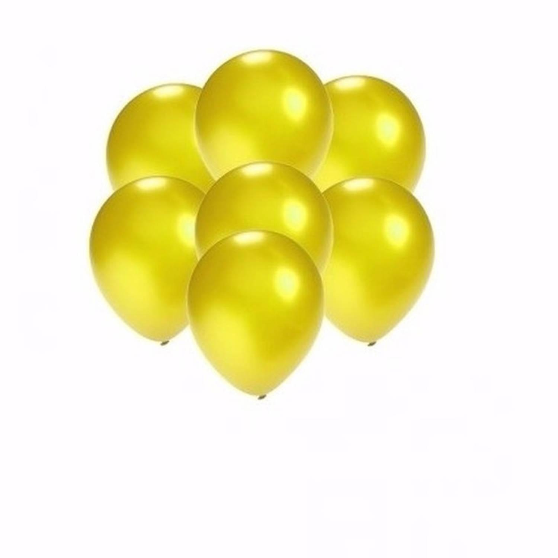 Korting 10x Stuks Kleine Metallic Gele Ballonnen 13 Cm Feestartikelen versiering Geel
