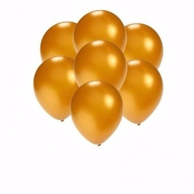 Korting 10x Stuks Voordelige Metallic Gouden Ballonnen Klein Formaat 13 Cm Feestartikelen versieringen