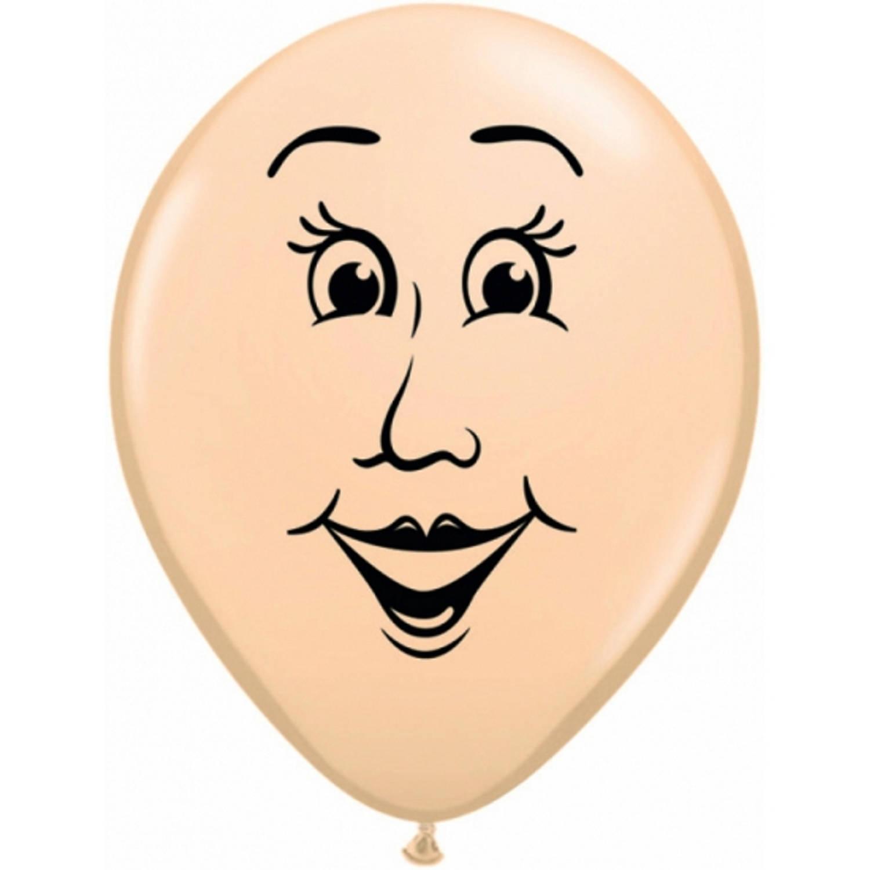 Korting Kleine Ballonnen Van Een Vrouwen Gezicht 13 Cm Feestartikelen