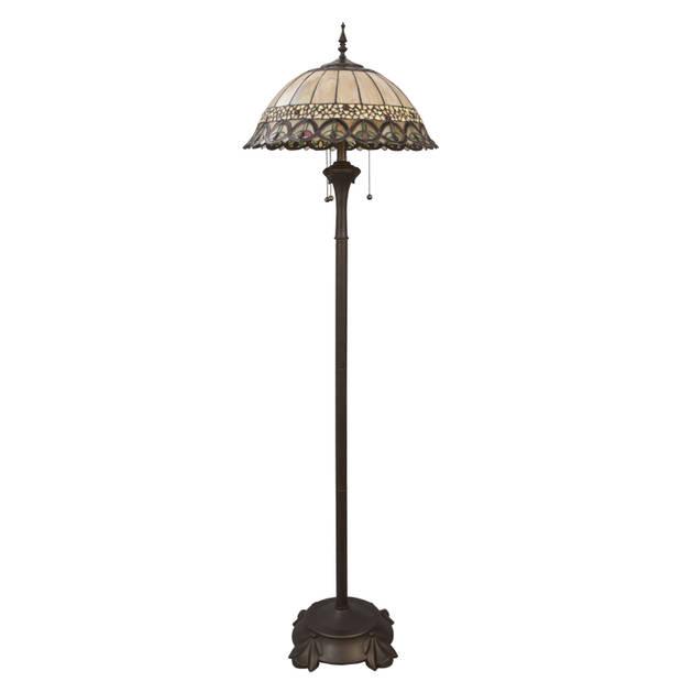 Clayre & eef tiffany vloerlamp compleet uit de mountain top serie - bruin, groen, beige, multi colour - ijzer, glas