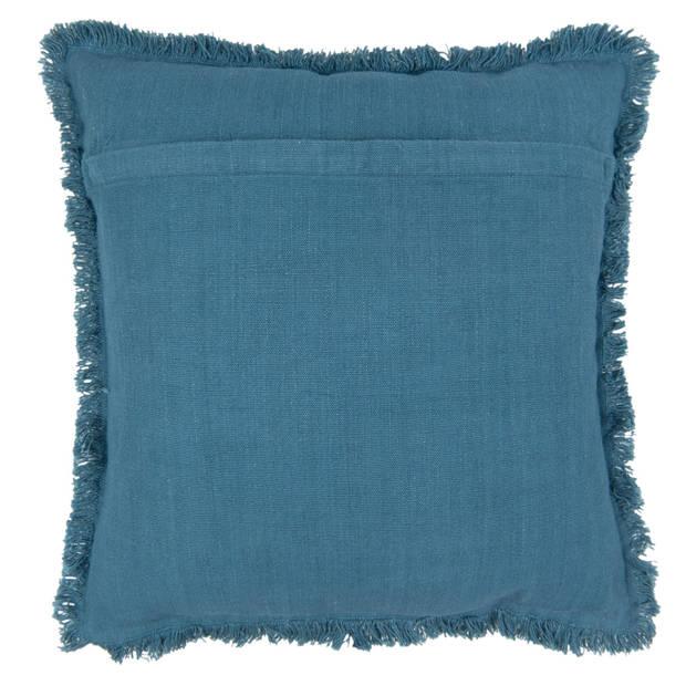 Clayre & eef kussen gevuld 45x45 - blauw - katoen, polyester, 100% katoen