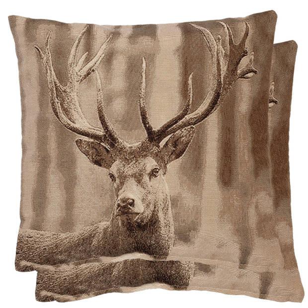 Clayre & eef kussen gevuld 60x60 - bruin, beige - katoen, polyester, 100% katoen