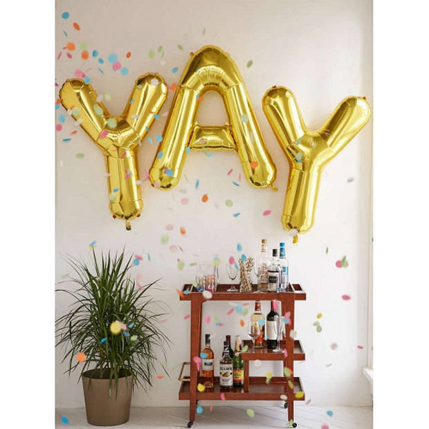 Letter T ballon goud 86 cm