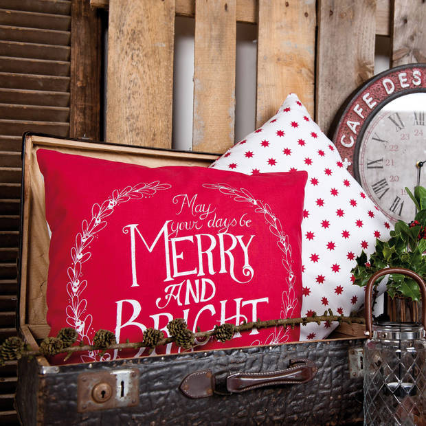 Clayre & eef kussen gevuld 35x50 cm - wit, rood - katoen, 100% katoen