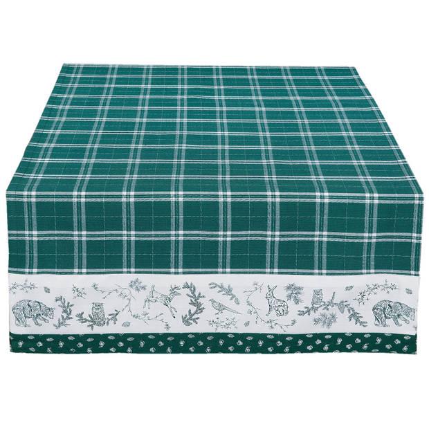Clayre & eef tafelloper 50x140 - wit, groen - katoen, 100% katoen