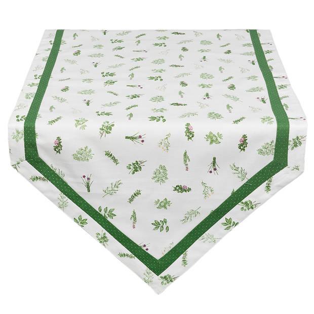 Clayre & eef tafelloper 50x160 - wit, groen - katoen, 100% katoen