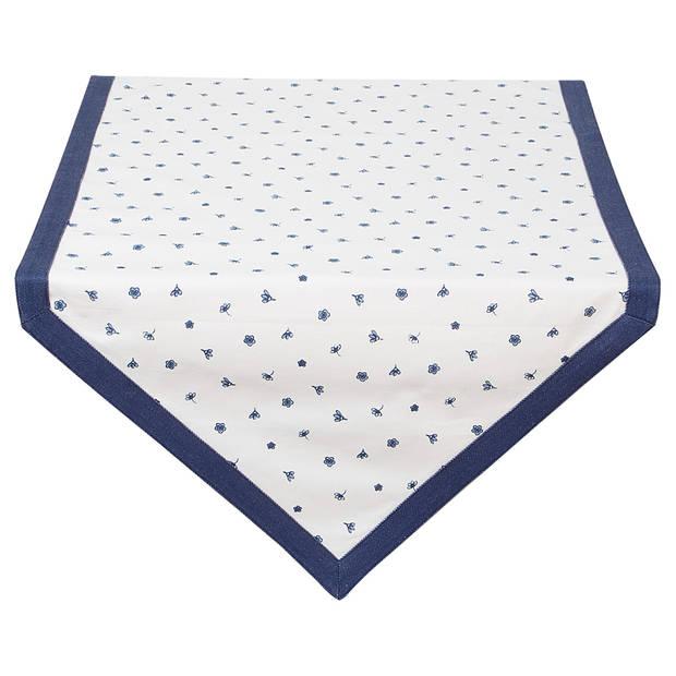 Clayre & eef tafelloper 50x160 - wit, blauw - katoen, 100% katoen
