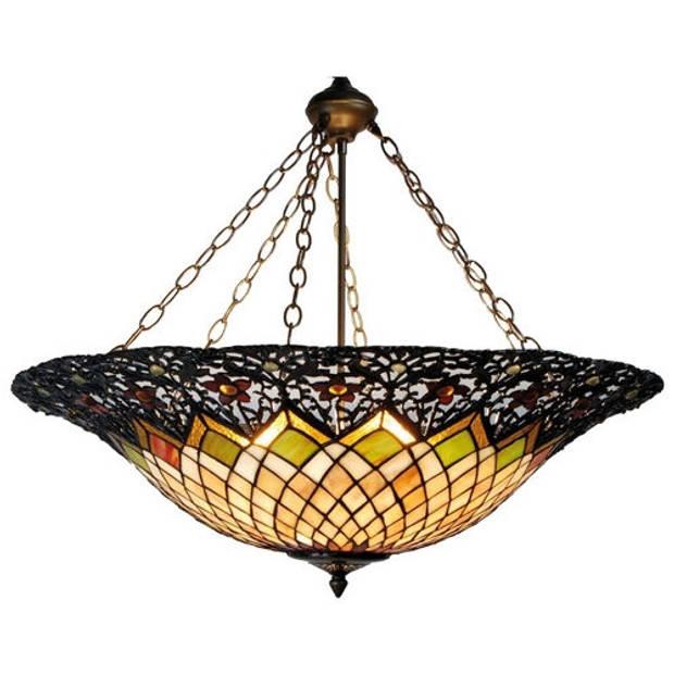 Clayre & eef hanglamp tiffany ø 80x120 cm e27/max. 3x60 watt - groen, rood, roze, brons - ijzer, glas