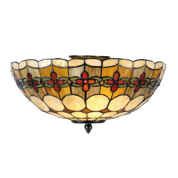 Clayre & eef tiffany plafonnière plafondlamp flowerchain serie - bruin, rood, geel, ivory - ijzer, glas, metaal