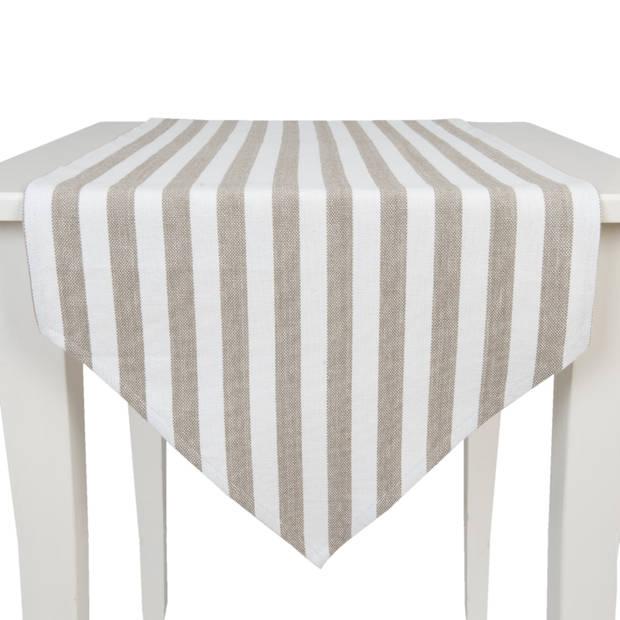 Clayre & eef tafelloper 50x160 - wit, beige - katoen, 100% katoen