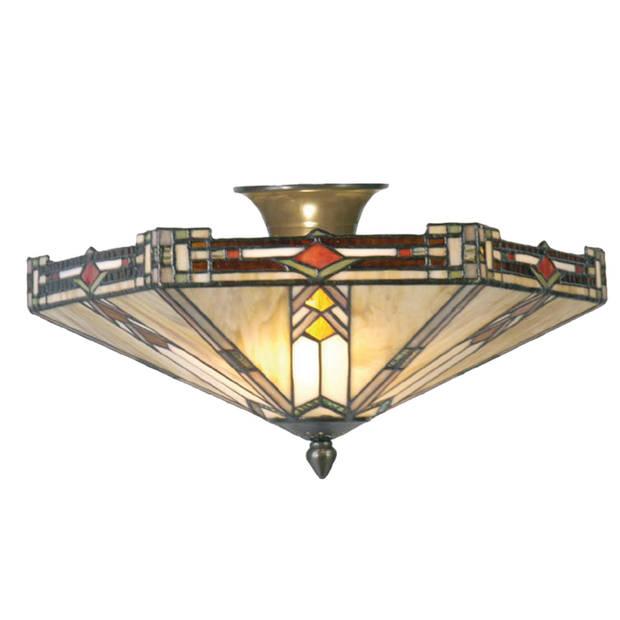 Clayre & eef tiffany plafondlamp plafonnière uit de modern lines serie - groen, rood, brons, ivory - ijzer, glas, metaal