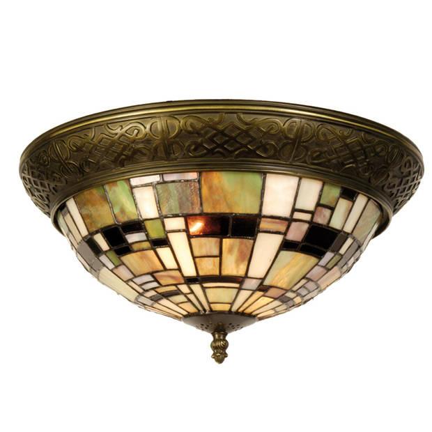 Clayre & eef tiffany plafondlamp plafonnière mosaic serie - bruin, groen, brons, multi, wit - ijzer, glas
