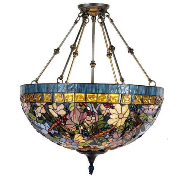 Clayre & eef plafondlamp compl. Tiffanykap ø 70x75 cm 6x e27 max 60w. - blauw, geel, multi colour - ijzer, glas