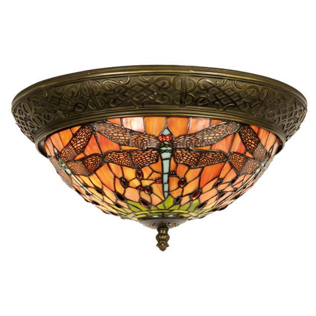 Clayre & eef plafondlamp tiffany libelle compleet 19 x ø 38 cm - bruin, rood, brons - ijzer, glas