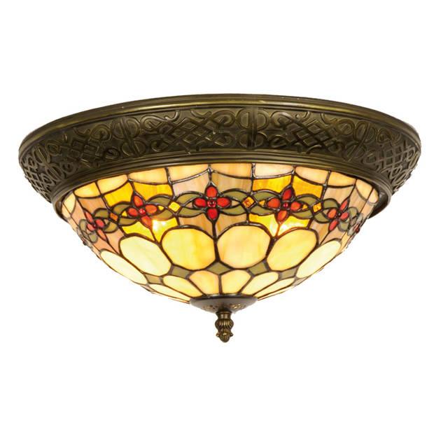 Clayre & eef tiffany plafondlamp plafonnière flowerchain serie - groen, rood, brons, ivory - ijzer, glas