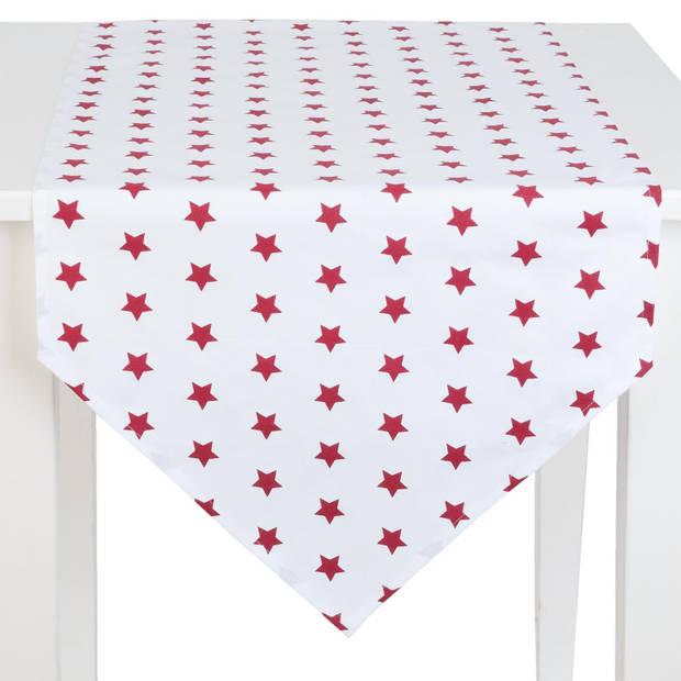 Clayre & eef tafelloper 50x160 - wit, rood - katoen, 100% katoen