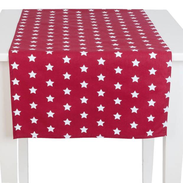 Clayre & eef tafelloper 50x140 - wit, rood - katoen, 100% katoen