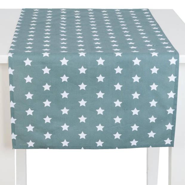 Clayre & eef tafelloper 50x140 - grijs, wit, groen - katoen, 100% katoen