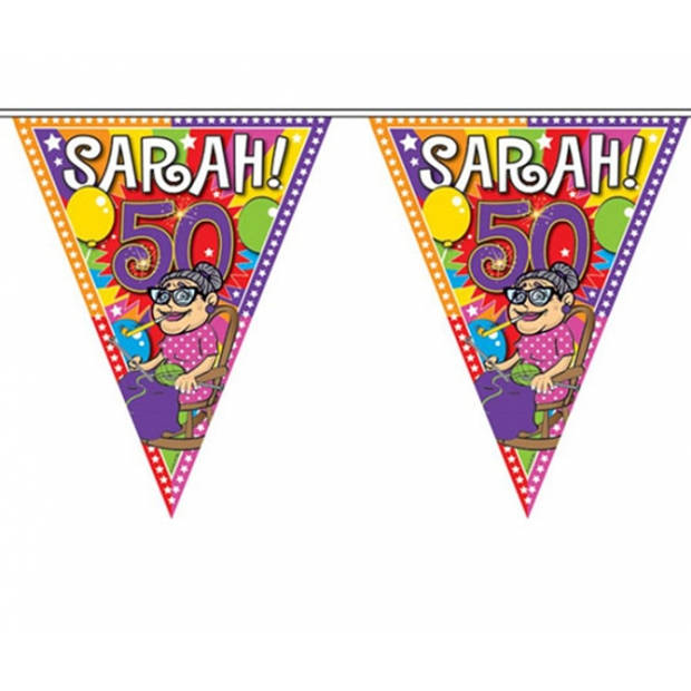 Leeftijd versiering vlaggenlijn / vlaggetjes / slinger Sarah 50 jaar geworden thema 10 meter