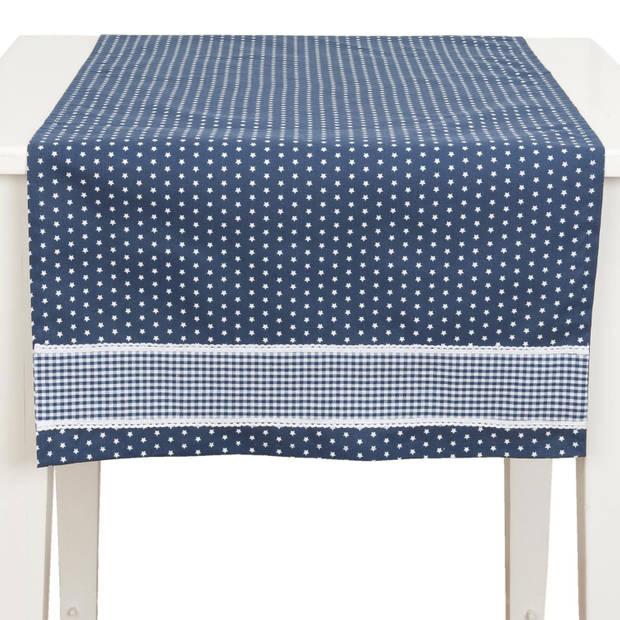 Clayre & eef tafelloper 50x140 - wit, blauw - katoen, 100% katoen