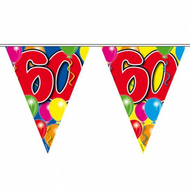 Leeftijd versiering vlaggenlijn / vlaggetjes / slinger 60 jaar geworden thema 10 meter - Feestartikelen/versiering