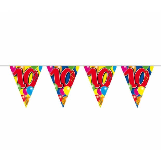 Leeftijd versiering vlaggenlijn / vlaggetjes / slinger 10 jaar geworden thema 10 meter