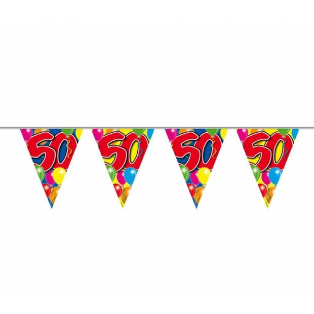 Leeftijd versiering vlaggenlijn / vlaggetjes / slinger 50 jaar geworden thema 10 meter