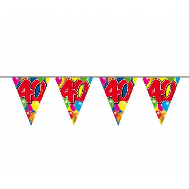 Leeftijd versiering vlaggenlijn / vlaggetjes / slinger 40 jaar geworden thema 10 meter - Feestartikelen/versiering