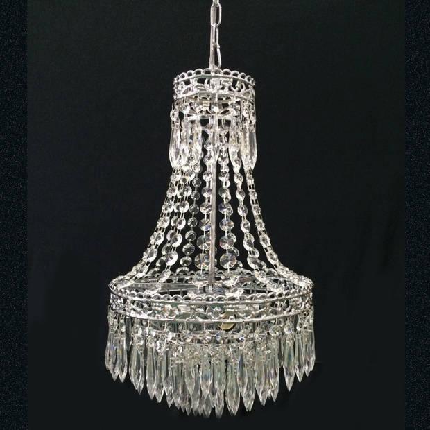 Clayre & eef kroonluchter ø30x50 cm 4x e14/40w (zelf in elkaar zetten) - transparant, chroom - ijzer, glas