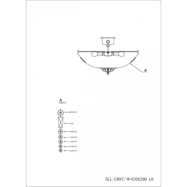 Clayre & eef kroonluchter ø47x38 cm 6x e14/40w (zelf in elkaar zetten) - transparant, chroom - ijzer, glas