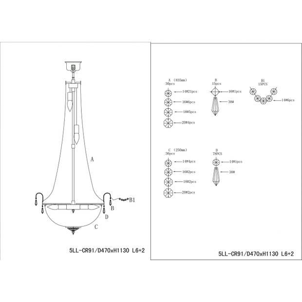 Clayre & eef kroonluchter ø50x113 cm 6x e14/40w (zelf in elkaar zetten) - transparant, zilver - ijzer, glas