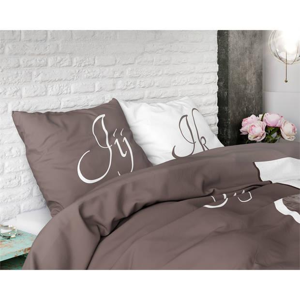 Sleeptime jij en ik taupe - dekbedovertrek: 2-persoons (200 cm)