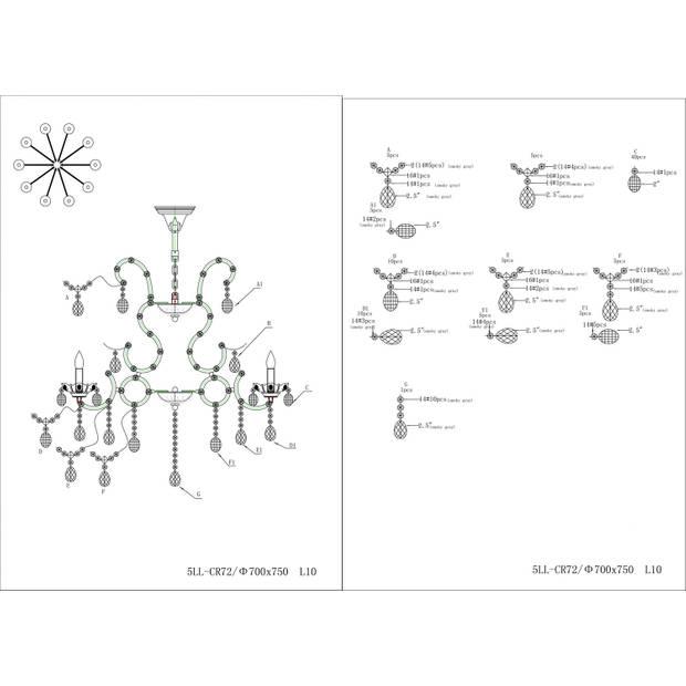 Clayre & eef kroonluchter chroom 75xø 70 cm 12x e14/40w (zelf in elkaar zetten) - transparant, chroom - ijzer, glas